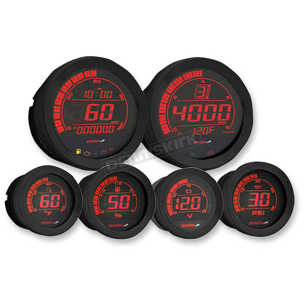 Koso North America Black Six Piece Gauge Set  - BA050904