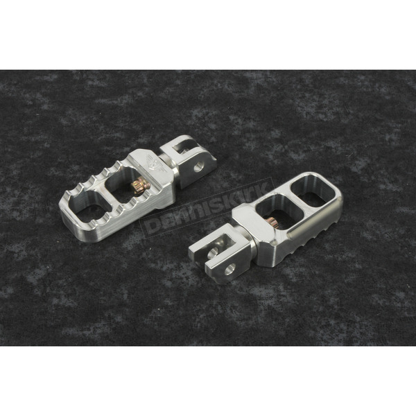 Silver Stubby Drivers HD Serrated Footpegs - 08-642-6