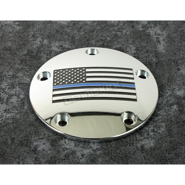 Chrome Blue Line American Flag Timing Cover - LE03-04