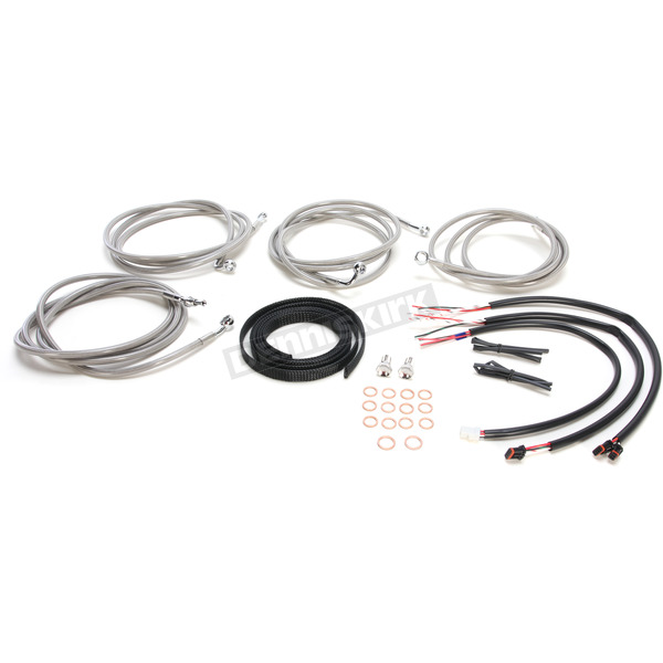 LA Choppers Stainless Steel Braided Complete Handlebar Cable and Brake Line Kit for use w/18