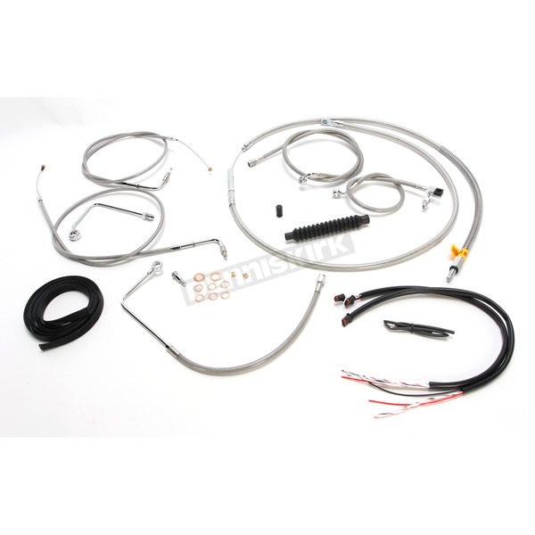 LA Choppers Complete Braided Stainless Cable/Brake Line Kit w/ABS For Use w/Mini Ape Hangers - LA-8151KT2A-08
