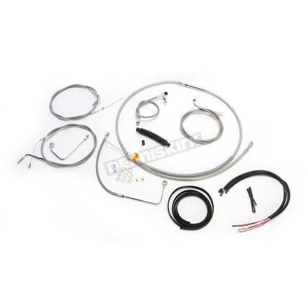 LA Choppers Complete Braided Stainless Cable/Brake Line Kit w/ABS For Use w/18