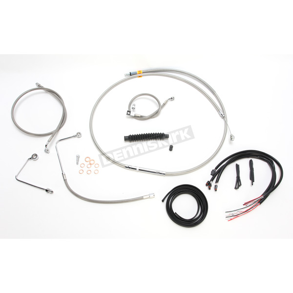 Complete Braided Stainless Cable/Brake Line Kit w/ABS For Use w/Mini Ape Bars - LA-8151KT2B-08