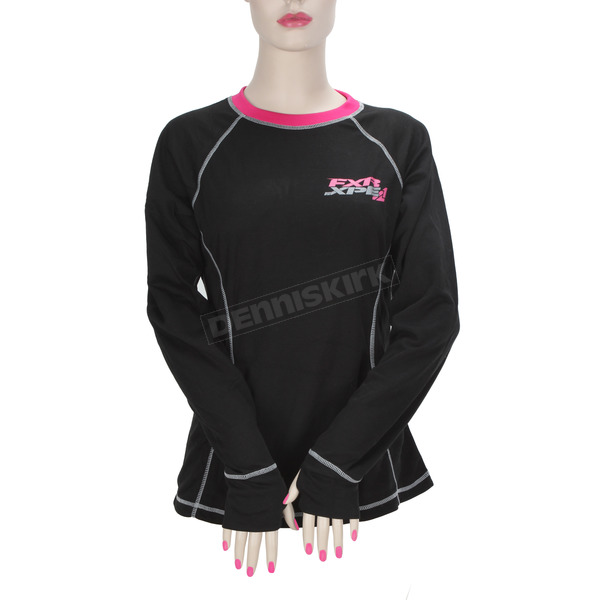 FXR Racing Women's Black/Fuchsia Vapour 20% Merino Long Sleeve Top - 171200-1090-13