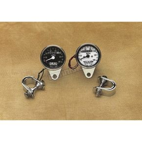 Drag Specialties 2:1 Ratio Mini Speedometer with White Face - DS-244135