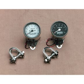 Drag Specialties Mechanical Mini 8000 RPM Tach with Black Face - DS-244139