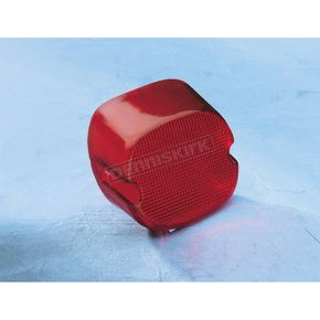 Drag Specialties Red Laydown Taillight Lens with Bottom Tag Window - 0902-6321