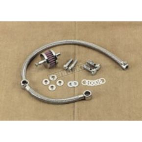 Drag Specialties Braided Hose Crankcase Breather Kit - DS-289118
