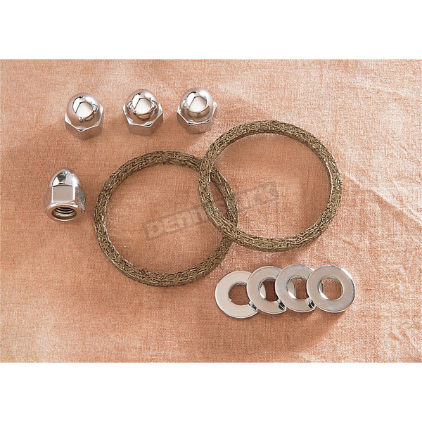 Genuine James Graphite Wire Exhaust Port Gasket Kit w/Chrome Acorn Nuts and Washers - EV-1