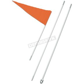 Safety Vehicle Emblem Safety Flag with 8 Foot White Pole (3-pc) - 8BWHITE