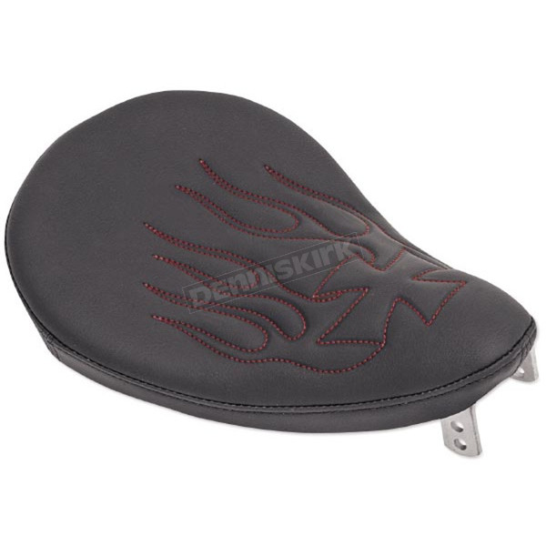 Drag Specialties 10 in. Wide Black Vinyl Small Spring Solo Seat w/Cross Red Flame - 0806-0009