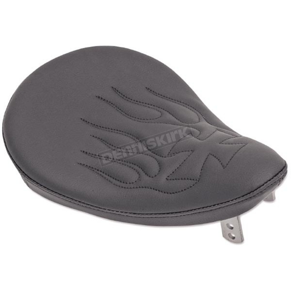 Drag Specialties 10 in. Wide Black Vinyl Small Spring Solo Seat w/Cross Black Flame - 0806-0010
