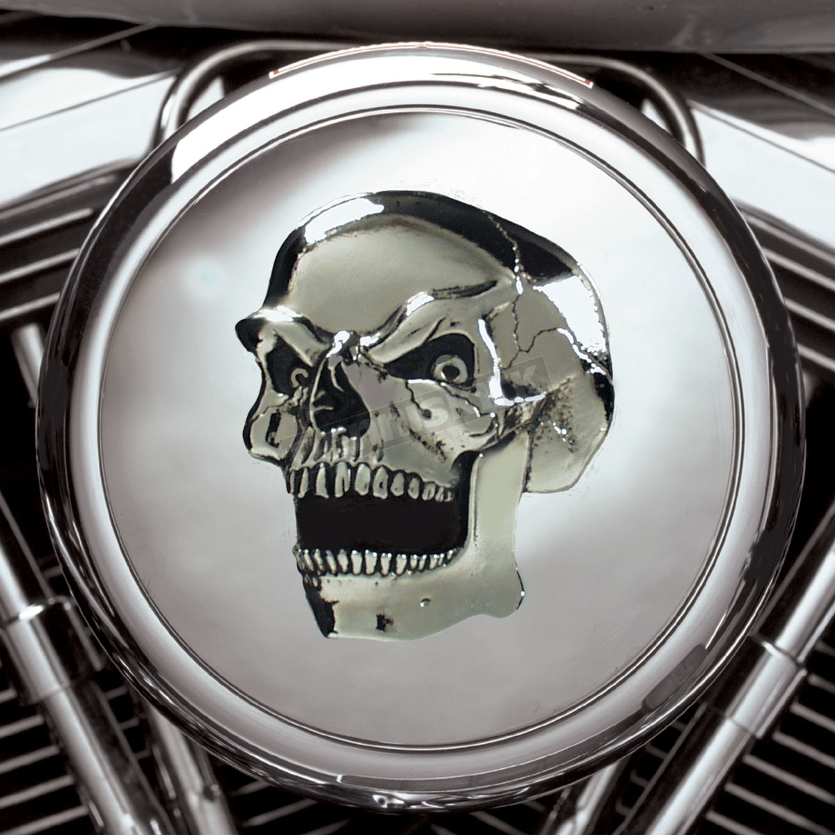 Skull Air Cleaner Cover : Mothers custom cycle chrome skull air cleaner insert