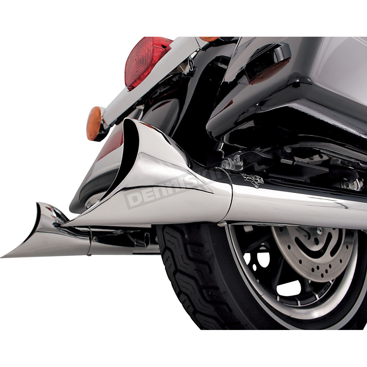 Fishtail II End Caps for Softail Duals Header Pipes w/Straight-Cut Slip-Ons  and Big Shot Dual Exhaust System - 16923