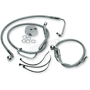 Drag Specialties Front Clear-Coated Braided Stainless Steel Brake Line Kit - 1204-2756