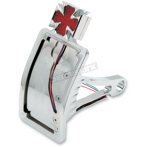 Drag Specialties Maltese Cross Curved Side Mount Taillight/License Plate Mount - 2010-0558