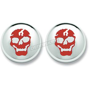 Motor City Cycle Skull in Chrome Front/Rear Turn Signal Lens-Red - 60RSKULL