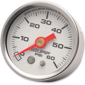 Pro-Cycle 1 1/2 in. White Face Pressure Gauge-psi 0-60 - 2176