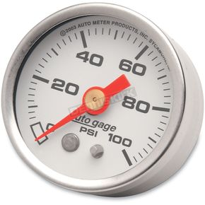 Pro-Cycle 1 1/2 in. White Face Pressure Gauge-psi 0-100 - 2177