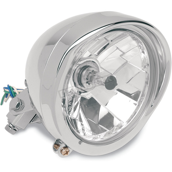 Drag Specialties Diamond-Style 5 3/4 in. Headlight with Visor - 2001-0095