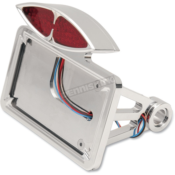 Drag Specialties Horizontal Side-Mount Cateye Taillight And License Plate Mount - 2030-0169