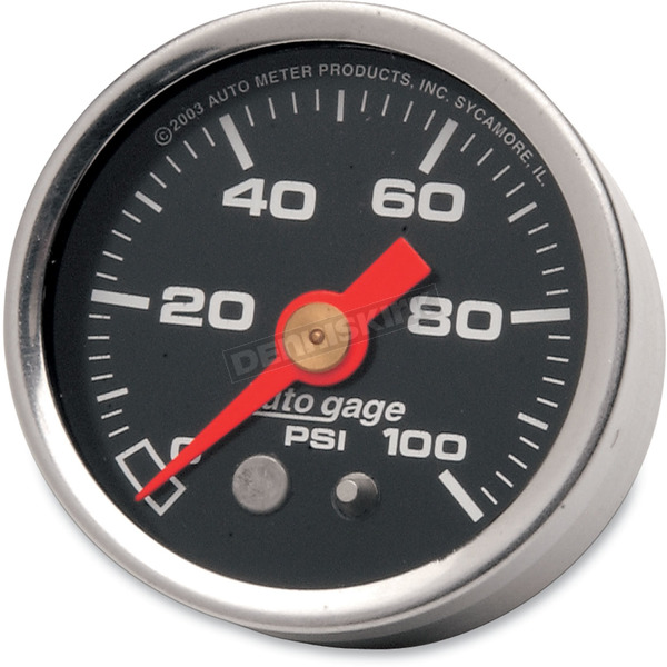 Pro-Cycle 1 1/2 in. Black Face Pressure Gauge-psi 0-100 - 2174