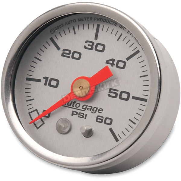 Pro-Cycle 1 1/2 in. Silver Face Pressure Gauge-psi 0-60 - 2179