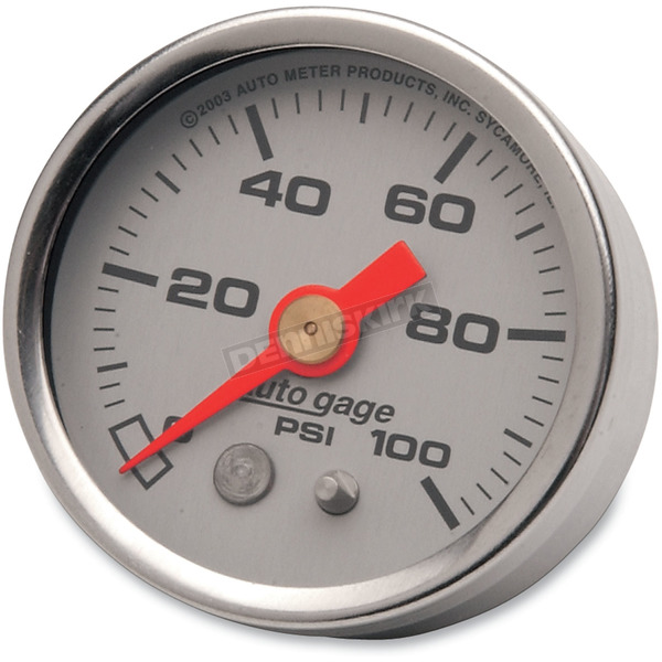 Pro-Cycle 1 1/2 in. Silver Face Pressure Gauge-psi 0-100 - 2180