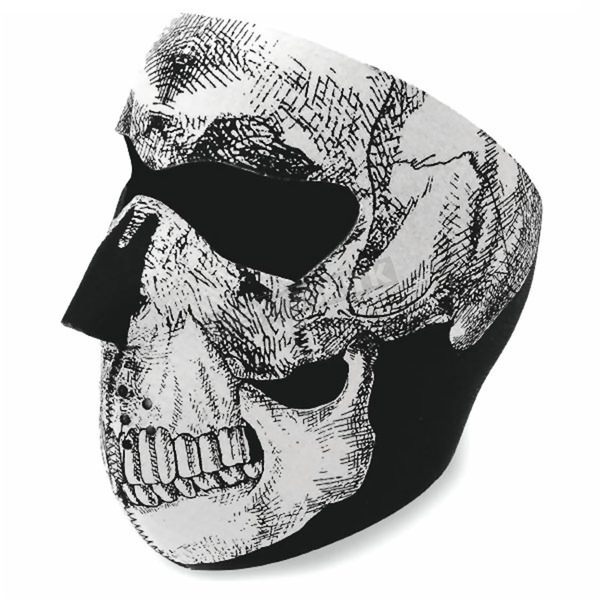 Zan Headgear Black and White Skull Face Mask - WNFM002