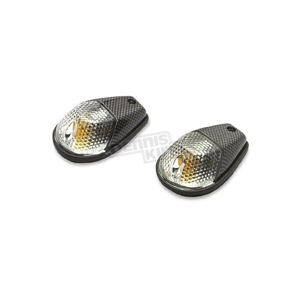 K & S Flush Mount Marker Lights - Carbon w/Clear Lens - 25-8015