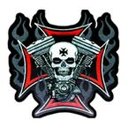 Flaming Cross and Skull with V-Twin Patch - PPA1830