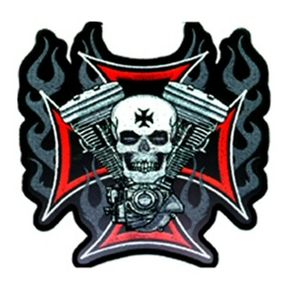 Hot Leathers 4x4 Flaming Cross and Skull with V-Twin Patch - PPA1830