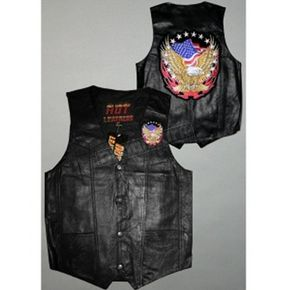 Hot Leathers Eagle and Flag Leather Vest - VSM1011S