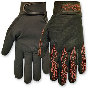 Hot Leathers Red Flames Mechanics Gloves  - GVM2002L