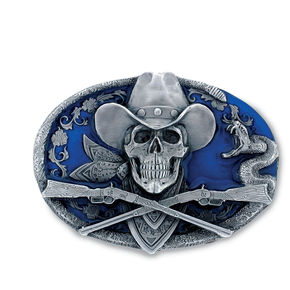 Hot Leathers Cowboy Skull Belt Buckle - BBA1082