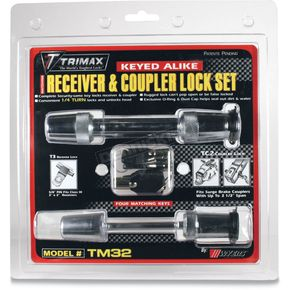 Premium Keyed-Alike Hardened Steel 5/8 in. Diameter Reciever and 2 1/2 in. Span Coupler Lock - TM32