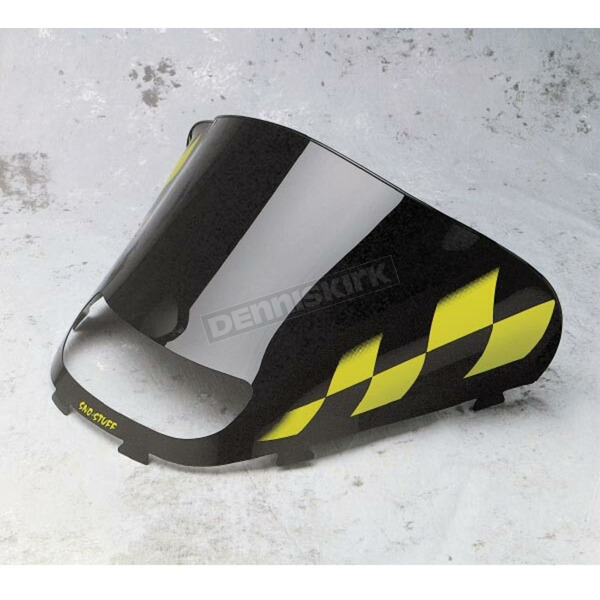 Sno-Stuff 15 1/4 in. Low-Cut Black Windshield w/Yellow Checkers - 479-475-57