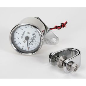 Drag Specialties Mechanical Mini 8000 RPM Tach with White Face - DS-244137
