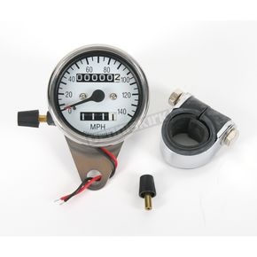 Drag Specialties 2:1 Ratio Mini Speedometer w/White Face and Tripmeter - DS-243836
