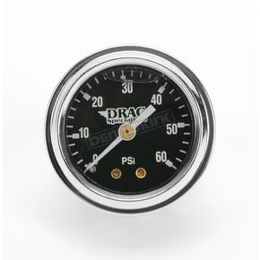 Drag Specialties 1 3/4 in. Deluxe Liquid Filled Black Face 60 lb. Oil Gauge - DS-244112
