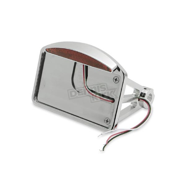 Drag Specialties Side Mount Half Moon LED Taillight/License Plate Mount-Flat Horizontal - 0906-6042