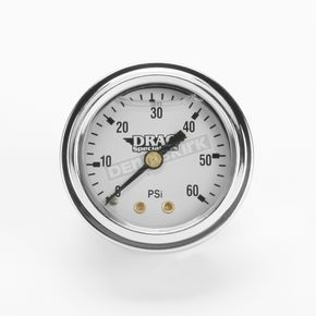 Drag Specialties 1 3/4 in. Deluxe Liquid Filled White Face 60 lb. Oil Gauge - DS-244113