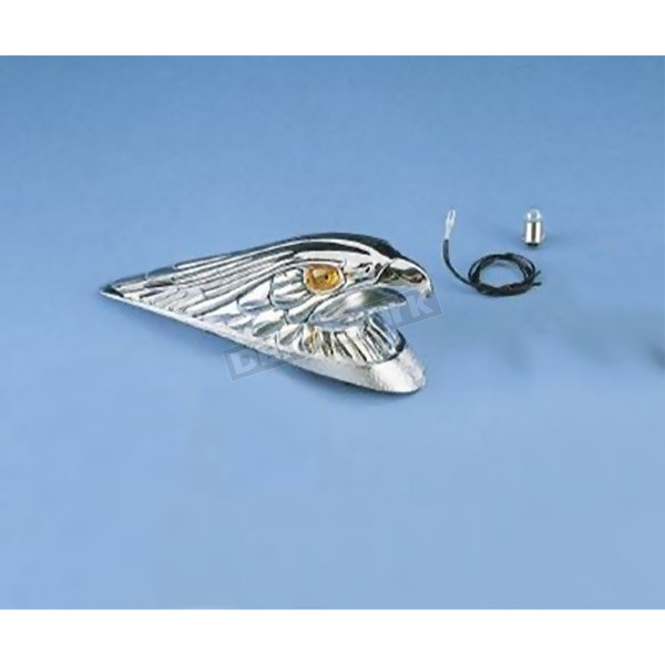 Drag Specialties Large Chrome Eagle Head with Lights Fender Ornament - DS-287553