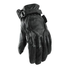 Power-Trip Jet Black Leather Gloves - 4369002