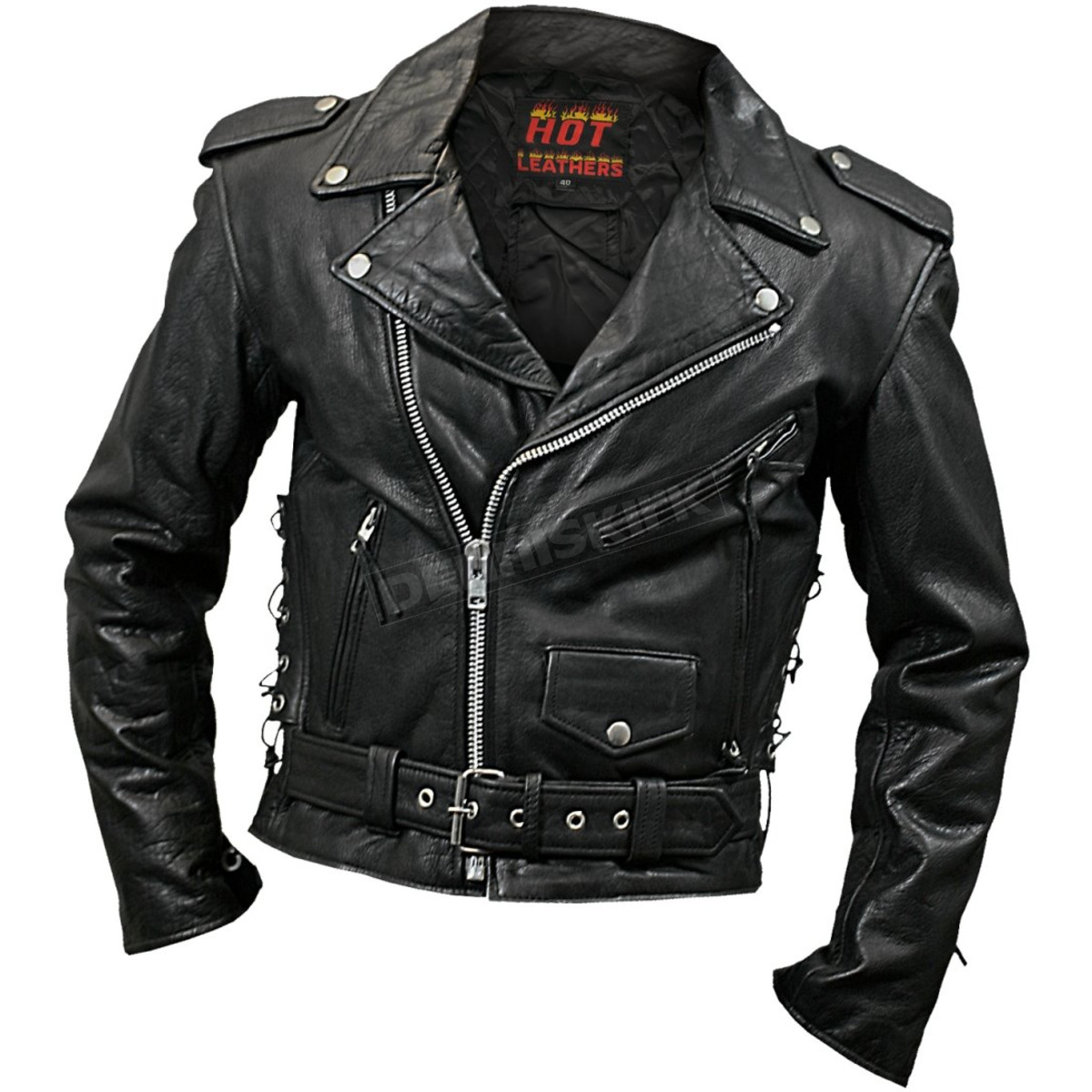 Hot Leathers Mens Classic Leather Motorcycle Jacket Jkm1002 38