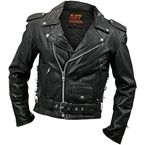 Mens Classic Leather Motorcycle Jacket - JKM1002-38
