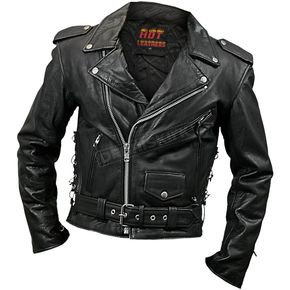 Hot Leathers Mens Classic Leather Motorcycle Jacket - JKM1002-62