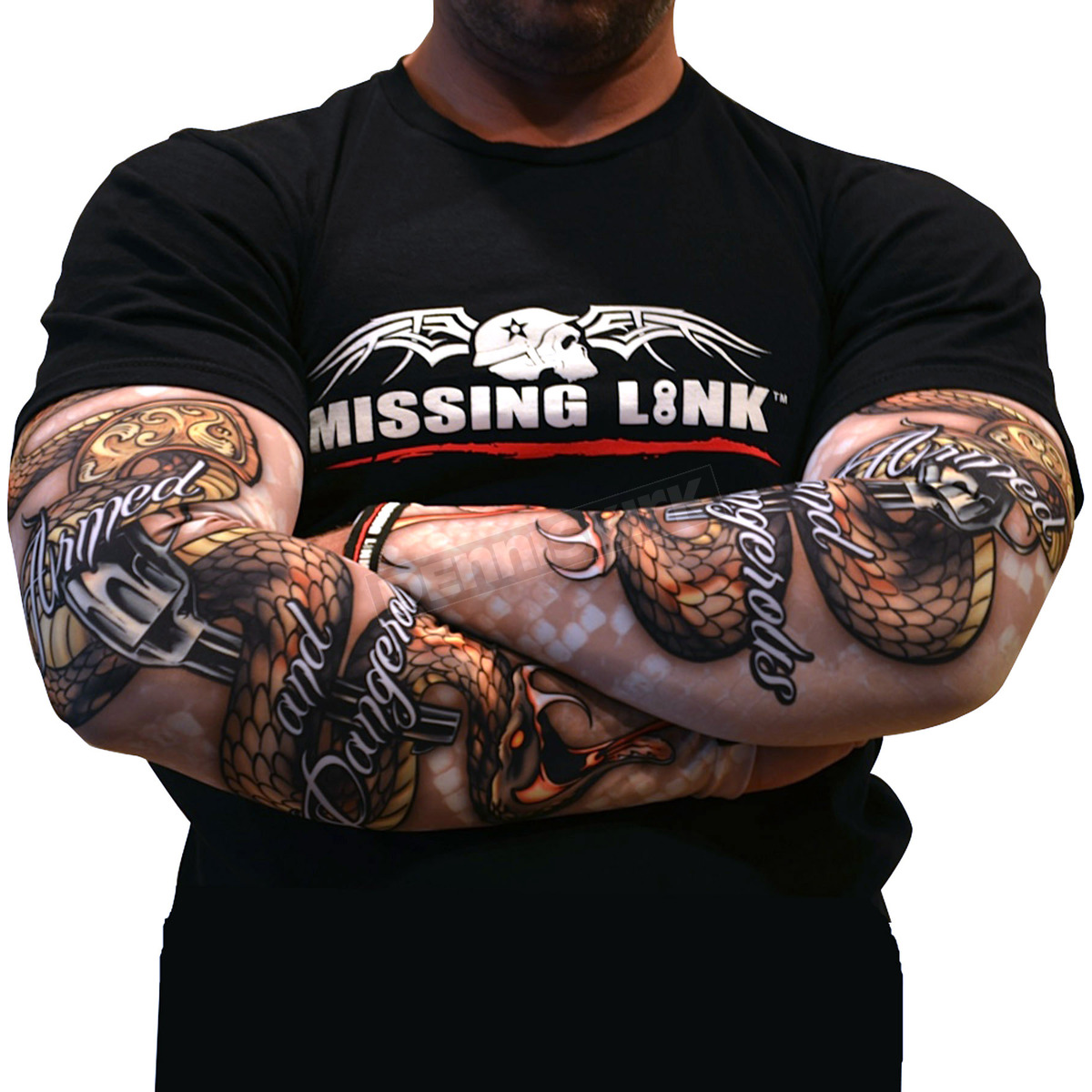 Missing link armed and dangerous gunz tattoo sleeves apads harley