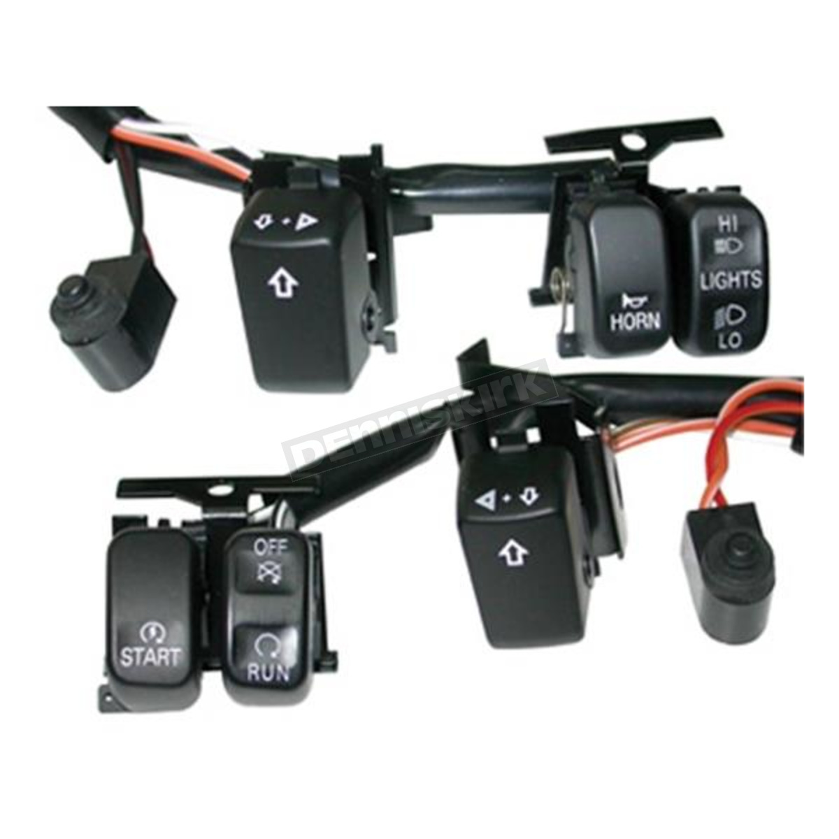 v-factor handlebar switch wiring kit w/black switches - 15152