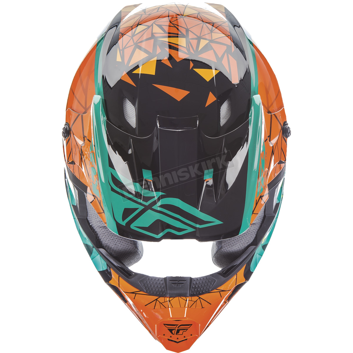 Fly Racing Youth Teal/Orange/Black Kinetic Crux Helmet